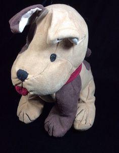 Janie & Jack Brown Plush Dog Suede-like Soft Toy Stuffed Red Tongue Collar #JanieAndJack