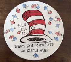 Dr. Seuss ceramic plate Why fit in when you were born to stand out fingerprint thumbprint.