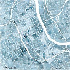 Nashville Blueprint 8x8 Summit Ridge Map Print Indigo Blue Jean Southern City Map. $20.00, via Etsy.