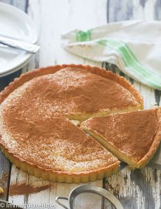 Rich Creamy and Milk Tart made with an easy pastry crust South African Desserts, South African Recipes, Custard Recipes, Tart Recipes, Oven Recipes, Recipies, Köstliche Desserts, Delicious Desserts, Plated Desserts