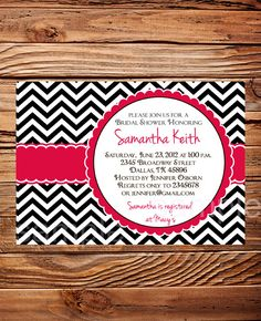 Bridal Shower Invitation, Wedding shower Invitation Digital, Baby Shower Invitation, Pink Bridal Shower Invite,  chevron stripes (6035) on Etsy, $21.00
