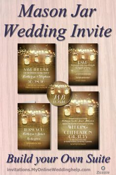 Idea: String lights in the wedding invitation design! You can also create your own suite with save the dates, RSVPs, thank you cards, and stickers. There are a lot of other designs on the page, too. #MyOnlineWeddingHelp