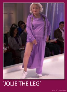 How funny! Betty White flaunting the Jolie Leg. Love her!