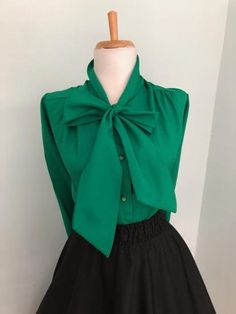 Vintage 60s Kelly Green Blouse w Pussy Bow + Mad Men Sexy Secretary Blouse  + 1960s d8ed0cc1276