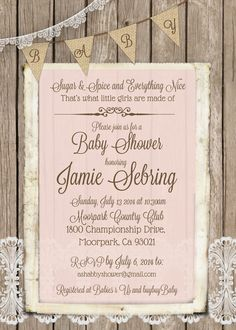 rustic shabby chic wood and lace baby shower invitation for girl in pink printable 5x7 t7