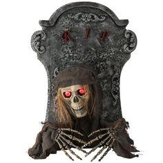 Lápida Esqueleto con manos, luz y sonido