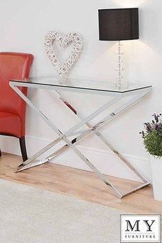 Anikka Modern chrome and glass console coffee bedside side lamp hallway table in Coffee Tables | eBay