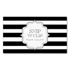 Modern Black & White Stripes Hair Stylist Business Cards