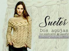 Suéter para tejer con trenzas en dos agujas con  paso a paso en español