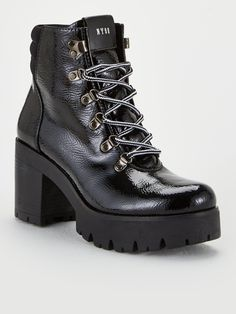Steve Madden Hallow Ankle Boots - Black in Black Patent High Leg Boots, Black Ankle Boots, Heeled Boots, Baby Phat, Long Toes, Timberland Boots, Fashion Boots, Block Heels, Steve Madden