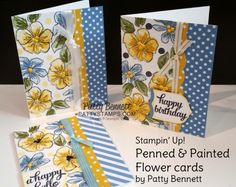 Stampin' Up! Penned & Painted Floral cards - pretty color combo!!     A happy hello to you! Thank you for stopping by today to learn about stamping the Penned & Painted floral stamp set from Stampin