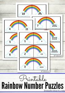 Rainbow number puzzles for toddlers and preschooler