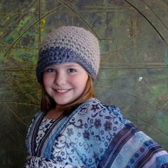 Grey and blue winter beanie by AtelierByTheSea on Etsy, $20.00