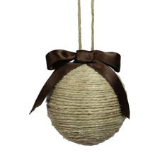 Jute String Ornament Christmas Rustic Wedding Unique Christmas Decor. via Etsy.--perfect for rustic Wyoming ornaments just add a button or decal that makes it interesting