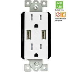 TOPGREENER TU21548A 4.8A 24W Ultra High Speed Dual USB Charger Receptacle, Interchangeable Face Covers, Charging-Smart USB Ports, 15A TR Tamper Resistant Outlet, White - - Amazon.com