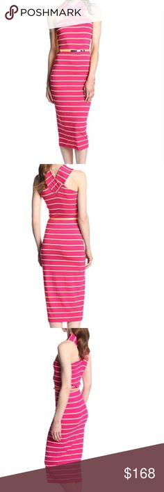 "🍡Ted Baker🍡Canna Striped Crossover Dress🍡 This is a brand-new without tags Ted Baker cabana crossover dress built in shelf bra very stretchy material the belt still has the plastic coating on it to protect the enamel belt included belt loops intact.  no flaws . Listed as a size 4 but could fit most size 6 comfortably Colors include a fuchsia pink and peach at least that's what I'm seeing . 78% Viscose/15% Polyester/ 7%Elastane Machine Wash Midi length Easy fit. Measurement bust 18"", waist…"