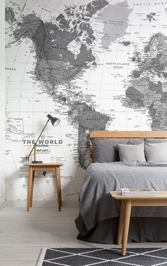 Give your home a classic, intriguing look by incorporating world map wallpaper. Our range of world map murals features soft, neutral tones that provide an on trend look for a bedroom, living room or s World Map Mural, World Map Wallpaper, Home Wallpaper, Interior Design Wallpaper, World Map Bedroom, Wallpaper Design For Bedroom, Bedroom Wallpaper Murals, Travel Bedroom, World Map Decor