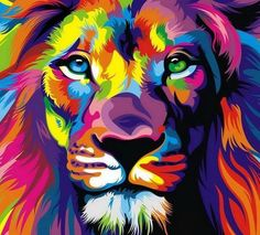 Hot Price Pop Art HD Print Colorful Lion Animals Abstract Oil Painting on Canvas Modern Wall Art Picture for Kid Room Poster Cudros Decor .more information please click the link Arte Pop, Tableau Pop Art, Lion Painting, Ouvrages D'art, Lion Art, Art Design, Modern Wall Art, Painting Inspiration, Lions