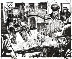 Original double-page spread by John Paul Leon from Howling Commandos #1…