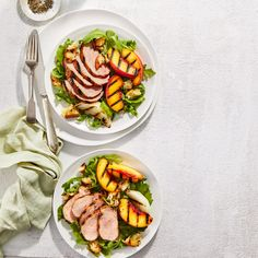 Grilled Pork-and-Peach Salad With Honey-Mustard Dressing Juicy Pork Tenderloin Recipe, Pork Chops, Grilling Recipes, Pork Recipes, Church Potluck Recipes, Classic French Dishes, Honey Mustard Dressing, Slow Cooked Beef, Main Dish Salads