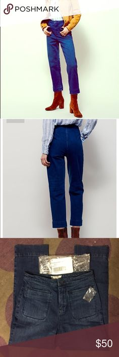 Free People Good Day High Rise Crop Jeans, NEW! New and never worn. These didn't fit me!  Color is seafarer (dark indigo).  Size 27. Free People Jeans Ankle & Cropped