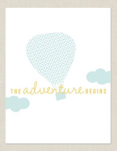 Hot Air Balloon Nursery Print. Might be nice for baby shower invitations