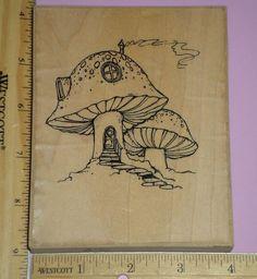 LARGE MUSHROOM HOUSE rubber stamp VIP VISUAL IMAGE PRINTERY