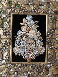 Vintage Jewelry Framed Christmas Tree Luscious Gold Pearls | eBay