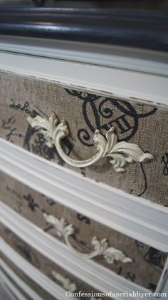 Love the fabric on the drawers