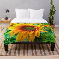 'yellow flower blooming sunflower' Throw Blanket by Rostislav Bouda Blooming Sunflower, Yellow Flowers, Comforters, Blanket, Art Prints, Printed, Awesome, Home, Products