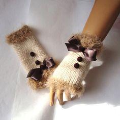 Fİngerless Gloves Brown Beige Mitten Winter Gloves by RoseAndKnit