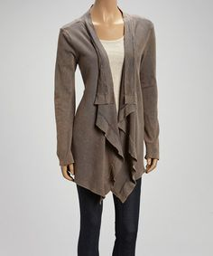 Loving this Light Brown Open Cardigan on #zulily! #zulilyfinds