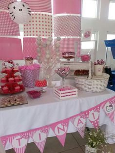 fiesta Hello Kitty party. mesa de postres y dulces. Candy Station. Candy bar.