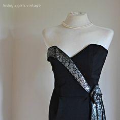 Vintage Cocktail Dress strapless black by LesleysGirlsVintage, £18.95