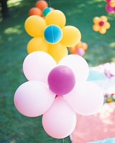 Garden Party Ideas. Flower Balloons. Cheap but effective decoration for your garden themed party.