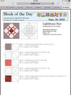 Light House Star block of the Day