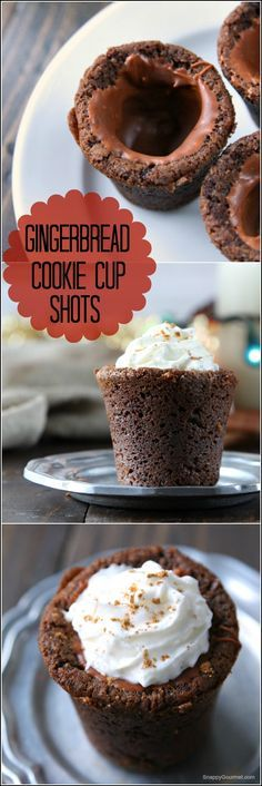 Gingebread Cookie Cup Shots, an easy Christmas cookie recipe that you can fill with your favorite drink such as eggnog, milk, or a cocktail! Or fill with ice cream, mousse, pudding, or more! One of the BEST gingerbread cookies ever! SnappyGourmet.com