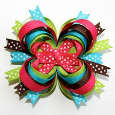 Hot Pink, Lime Green, Blue and Brown with Polka Dots Stacked Boutique Hair Bow