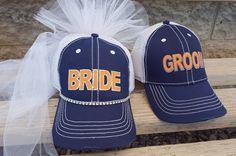 Baseball Bridal Shower Bride to Be Hat  and veil by CapsbyKari