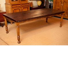 Bonnin Ashley Custom Farm House Table with Turned Cherry Legs & Black Walnut Top Antiques For Sale, Vintage Antiques, Antique Pine Furniture, Antique Dining Tables, Farmhouse Table, Custom Furniture, American, Farm House, Cherry