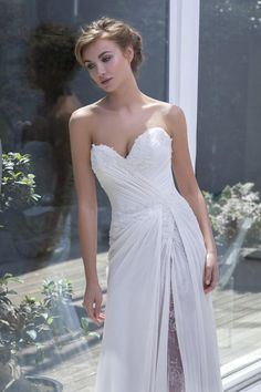Sexy Wedding Dresses Beach White Chiffon Anna Campbell Wedding Dresses 2015 Custom Made Bridal Gowns Split Front/Side Sweep Train Vestidos Winter Wedding Modest Princess Wedding Dresses From Beautifulencounter, $197.91| Dhgate.Com