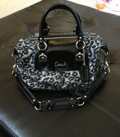 COACH ASHLEY OCELOT Satchel Bag Purse Handbag Leopard Animal Print F15520 GUC