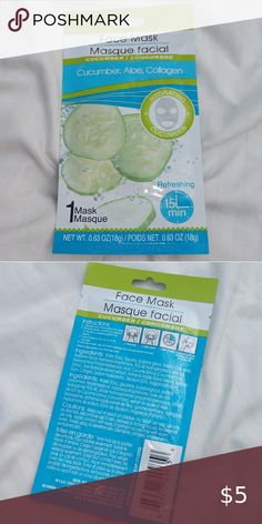 ������5/$15������ MIX AND MATCH BUNDLE Cucumber Aloe and Collagen refreshing sheet face mask  Add 5 items or more that have ������5/$15������ in the title Send me an offer of $15  I'll accept and it's SOLD Makeup #AntiAgingMask Anti Aging Mask, Mix N Match, Skin Care Tips, Collagen, Aloe, Cucumber, Makeup, Things To Sell, Skin Tips