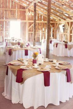 20 Rustic Burlap Wedding Table Decor Ideas Barn burlap and burgundy wedding tablescape Burgundy Wedding Theme, Tan Wedding, Fall Wedding Colors, Wedding Color Schemes, Rustic Wedding, Wedding Reception, Wedding Country, Navy Burlap Wedding, Wedding Sparklers