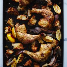 As these chicken legs roast, the torn pieces of bread underneath them absorb the rich and tangy juices and become deliciously crisp and chewy.