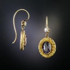 Amethyst Earrings, Diamond Earrings, Drop Earrings, Victorian Jewelry, Vintage Jewelry, Antique Jewelry, Grape Color, Ear Drops, Gemstone Jewelry