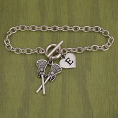 Lacrosse Stick Bracelet With Custom Initial
