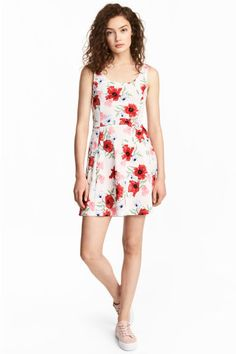 Abito in jersey - Bianco naturale/fiori - DONNA   H&M IT