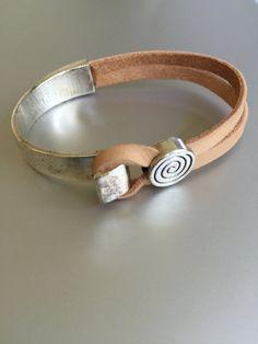 Unisex Half Silver Cuff Leather Bracelet by joytoyou41 on Etsy