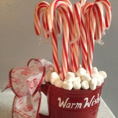 Candy cane centerpiece with marshmallows
